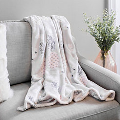 Gray Pineapple Floral Plush Throw