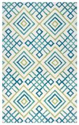 Blue and Green Diamond Trellis Area Rug, 8x10