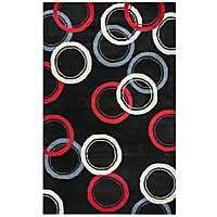 Abstract Circles Black Area Rug, 8x10
