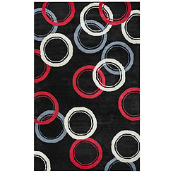 Abstract Circles Black Area Rug, 8x10