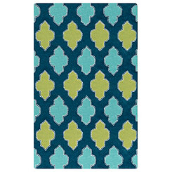 Blue and Green Quatrefoil Area Rug, 5x8