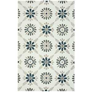 Gray Floral Area Rug, 8x10