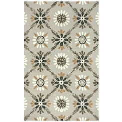 Floral Gray Hand-Tufted Wool Area Rug, 8x10