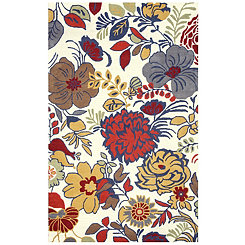 Bold Floral Hand-Tufted Wool Area Rug, 8x10