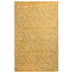 Solid Yellow Hand-Loomed Wool Area Rug, 8x10
