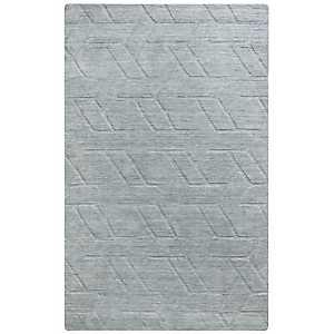 Solid Gray Hand-Loomed Wool Area Rug, 5x8