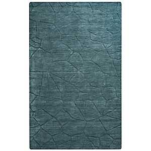 Solid Blue Hand-Loomed Wool Area Rug, 8x10
