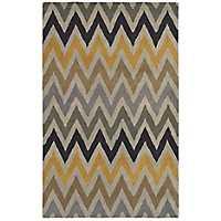 Multicolor Chevron Hand-Tufted Wool Area Rug, 8x10