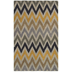 Multicolor Chevron Hand-Tufted Wool Area Rug, 8x10