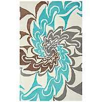 Aqua and Brown Hand-Tufted Wool Area Rug, 8x10