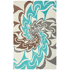 Aqua and Brown Hand-Tufted Wool Area Rug, 8x10