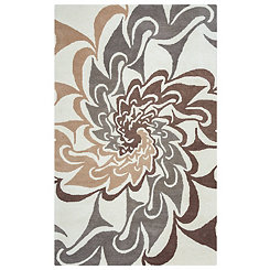 Gray and Brown Hand-Tufted Wool Area Rug, 8x10