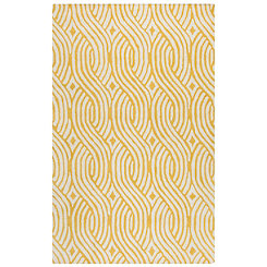 Yellow Trellis Hand-Tufted Wool Area Rug, 8x10