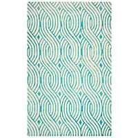 Teal Trellis Hand-Tufted Wool Area Rug, 8x10
