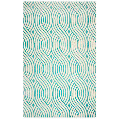 Teal Trellis Hand-Tufted Wool Area Rug, 8x10