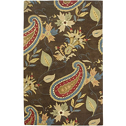 Brown Paisley Hand-Tufted Wool Area Rug, 8x10