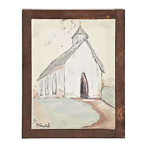 Mini Church Hand Embellished Framed Art Print