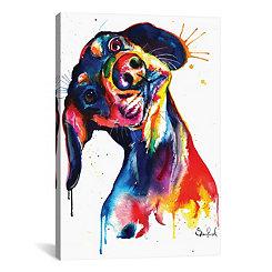 Splatter Dachshund Canvas Art Print