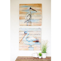 Painted Shoebirds on Recycled Wood Art, Set of 2