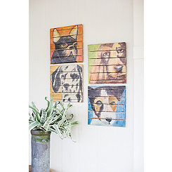 Dog Paintings on Wood Slat Art Prints, Set of 4