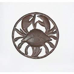Hammered Metal Crab Wall Plaque