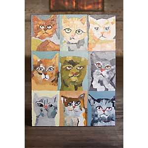 Crazy Cats Oil Painted Canvas Art Print