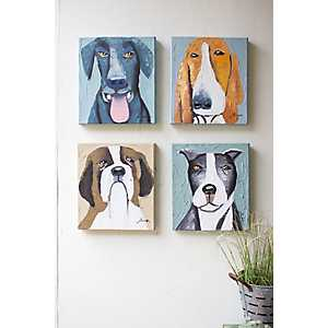 Oil Painted Dogs Canvas Art Prints, Set of 4