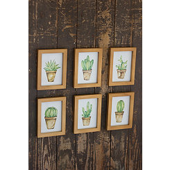 Small Potted Cactus Framed Art Prints, Set of 6