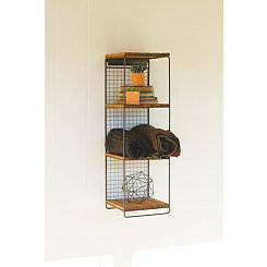 Wood and Metal Four Level Wall Shelf