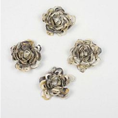 Oyster Shell Flowers Wall Plaque, Set of 3