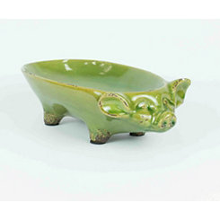 Lime Pig Ceramic Bowl