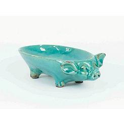 Turquoise Pig Ceramic Bowl