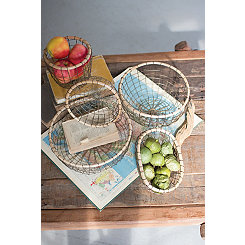 Wire Baskets with Wood Rims, Set of 5
