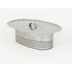 Galvanized Oval Metal Canister with Serving Tray