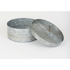 Galvanized Metal Hat Box with Serving Tray