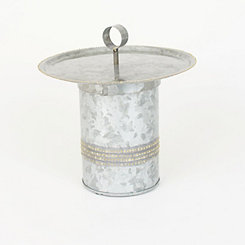 Galvanized Metal Canister with Serving Tray