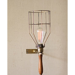Antique Brass Caged Wall Sconce