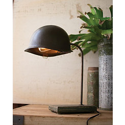 Repurposed Army Helmet Desk Lamp
