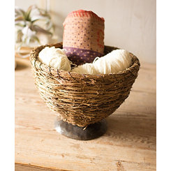Vine Basket with Metal Base