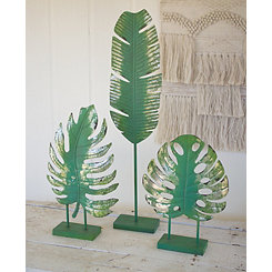 Tropical Metal Leaf Statues, Set of 3