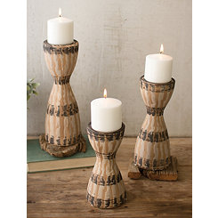 Ceramic Tribal Candle Holders, Set of 3