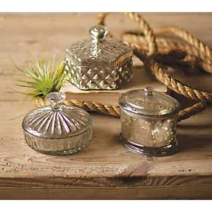 Assorted Mercury Glass Boxes, Set of 3