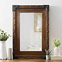 Dark Wood with Studs Framed Mirror, 27.8x41.3 in.