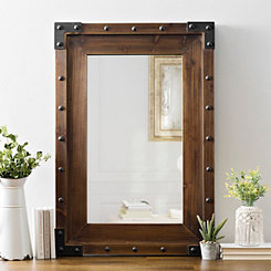 Dark Wood with Stud Accents Framed Mirror