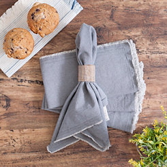 Gray Piana Frayed Napkins, Set of 4