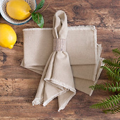 Natural Piana Frayed Napkins, Set of 4