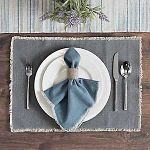 Piana Gray Frayed Edge Placemat
