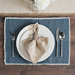 Piana Blue Frayed Edge Placemat