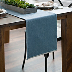 Blue Piana Frayed Table Runner