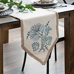 Embroidered Natural Stripe Table Runner